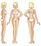 Тело женщины - противостойте, задний и взгляд со стороны Стоковое Изображение RF