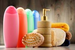 тело красотки разливает продукты по бутылкам пластмассы внимательности Стоковое Фото