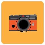 Тело ретро камеры фильма черное с оранжевой кожей Стоковое Изображение