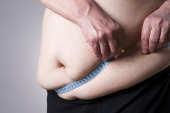 Тело тучности женское, тучная женщина с измеряя лентой Стоковое Изображение