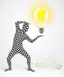Тело человека полностью с накаляя электрической лампочкой Стоковая Фотография RF