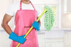 Тело человека с оборудованием чистки mop стоковое фото rf