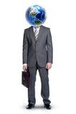 Тело Businessmans с землей вместо возглавляет на белизне Стоковая Фотография RF