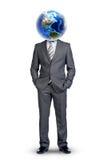 Тело Businessmans с землей вместо возглавляет Стоковое Фото