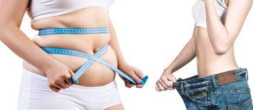 Тело ` s женщины перед и после потерей веса Стоковая Фотография RF