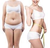 Тело ` s женщины перед и после потерей веса Стоковые Изображения RF