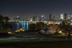 Тель-Авив на ноче. Израиль стоковая фотография rf