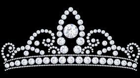 тиара кроны диаманта иллюстрации 3D с блестящее драгоценным Стоковая Фотография