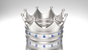 тиара кроны серебра золота иллюстрации 3D с диамантами Стоковые Изображения RF