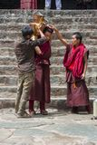 Тибетские буддийские монахи подготавливают чай масла во дворе  монастыря Tashilhunpo Шигадзе, Тибет стоковые фото