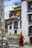 Тибетский буддийский монах идет в улицу монастыря Tashilhunpo Шигадзе, Тибет стоковое фото