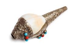 Тибетский буддийский навоз-Dkar рожка раковины раковины стоковые фото