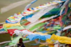 Тибетский флаг молитве Стоковое Изображение