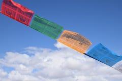 Тибетский флаттер флагов молитве в ветре стоковые изображения rf