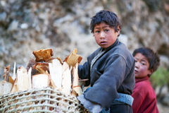 2 тибетских мальчика, Непал Стоковое Изображение