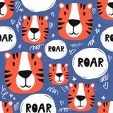 Тигры, красочная безшовная картина иллюстрация вектора