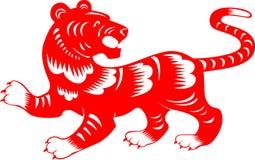 Тигр Зодиак отрезка китайской бумаги стоковое изображение rf
