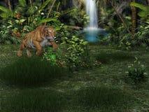 тигр перевода 3d большой на охоте иллюстрация вектора