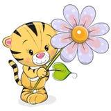 Тигр поздравительной открытки с цветком иллюстрация вектора