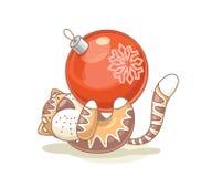тигр рождества шарика Стоковая Фотография RF