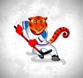 Тигр сыграл хоккей Стоковые Изображения
