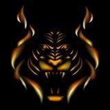 Тигр сделанный из пламени Стоковое Фото