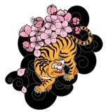Тигр с цветком и японская татуировка облака конструируют вектор Стоковое фото RF