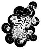 Тигр с цветком и японская татуировка облака конструируют вектор Стоковое Фото