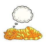 тигр шаржа отдыхая с пузырем мысли Стоковая Фотография