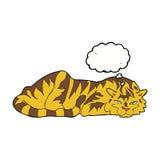 тигр шаржа отдыхая с пузырем мысли Стоковая Фотография RF