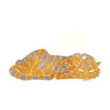 тигр шаржа отдыхая с пузырем мысли Стоковые Изображения RF