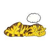 тигр шаржа отдыхая с пузырем мысли Стоковое Изображение