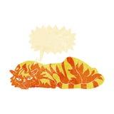 тигр шаржа отдыхая с пузырем речи Стоковые Фотографии RF