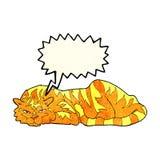 тигр шаржа отдыхая с пузырем речи Стоковая Фотография