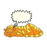 тигр шаржа отдыхая с пузырем речи Стоковое фото RF