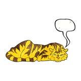 тигр шаржа отдыхая с пузырем речи Стоковое Фото