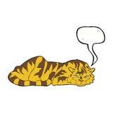тигр шаржа отдыхая с пузырем речи Стоковое Изображение
