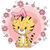 Тигр шаржа поздравительной открытки милый иллюстрация вектора