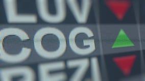 Тиккер запаса COG CABOT OIL&GAS на экране Редакционный перевод 3D иллюстрация штока