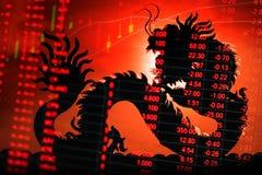 Тиккер диаграммы фондовой биржи Китая Стоковые Изображения