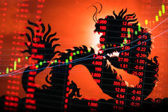Тиккер диаграммы фондовой биржи Китая Стоковое Изображение