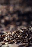 тимон Семена тмина на деревянном столе Тимон в винтажном бронзовом шаре и ложке стоковое изображение rf