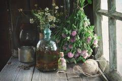Тинктура или вливание клевера, бутылка эфирного масла и целебные пуки трав Стоковые Изображения RF
