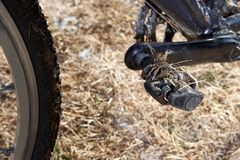 Тинная педаль велосипеда в конце-вверх Стоковые Изображения RF