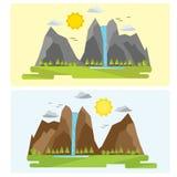 2 типа дизайна ландшафта горы Без чертежа контура иллюстрация вектора