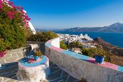 Типичная архитектура Cycladic, деревня Plaka, Milos остров, Киклады, Греция Стоковое фото RF