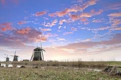 Типичная голландская ветрянка, Нидерланды Стоковые Изображения RF