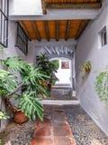 Типичная покрытая улица в Frigiliana, Малаге стоковое фото rf