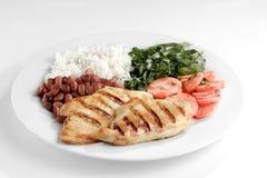 Типичная тарелка Бразилии, риса и фасолей Стоковое фото RF