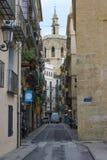 Типичная улица центра старого городка Валенсии Стоковые Изображения RF